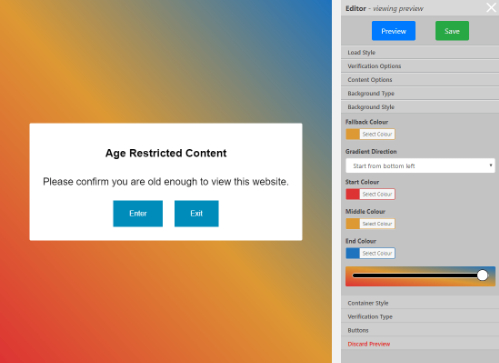 Admin page showing background gradient selection
